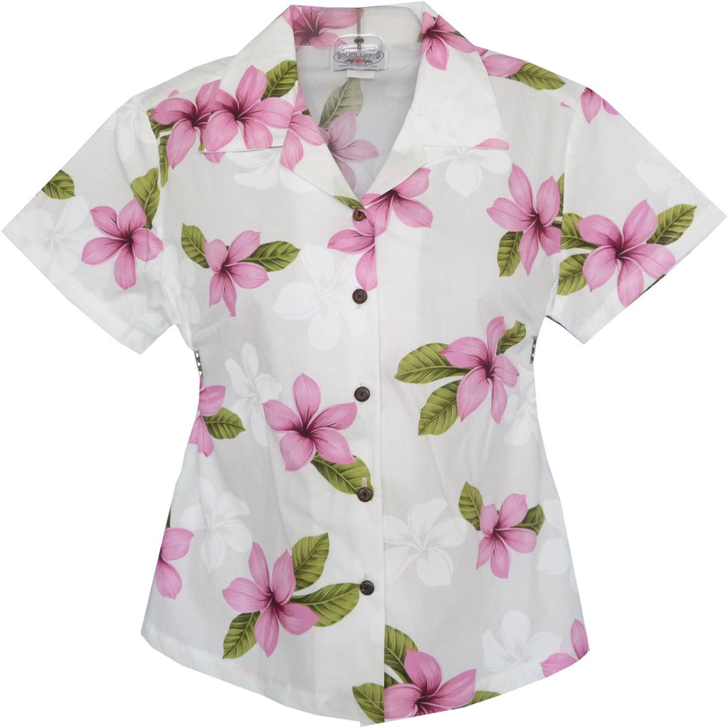 Delight Pink Hawaiian Women's Cotton Blouse - PapayaSun