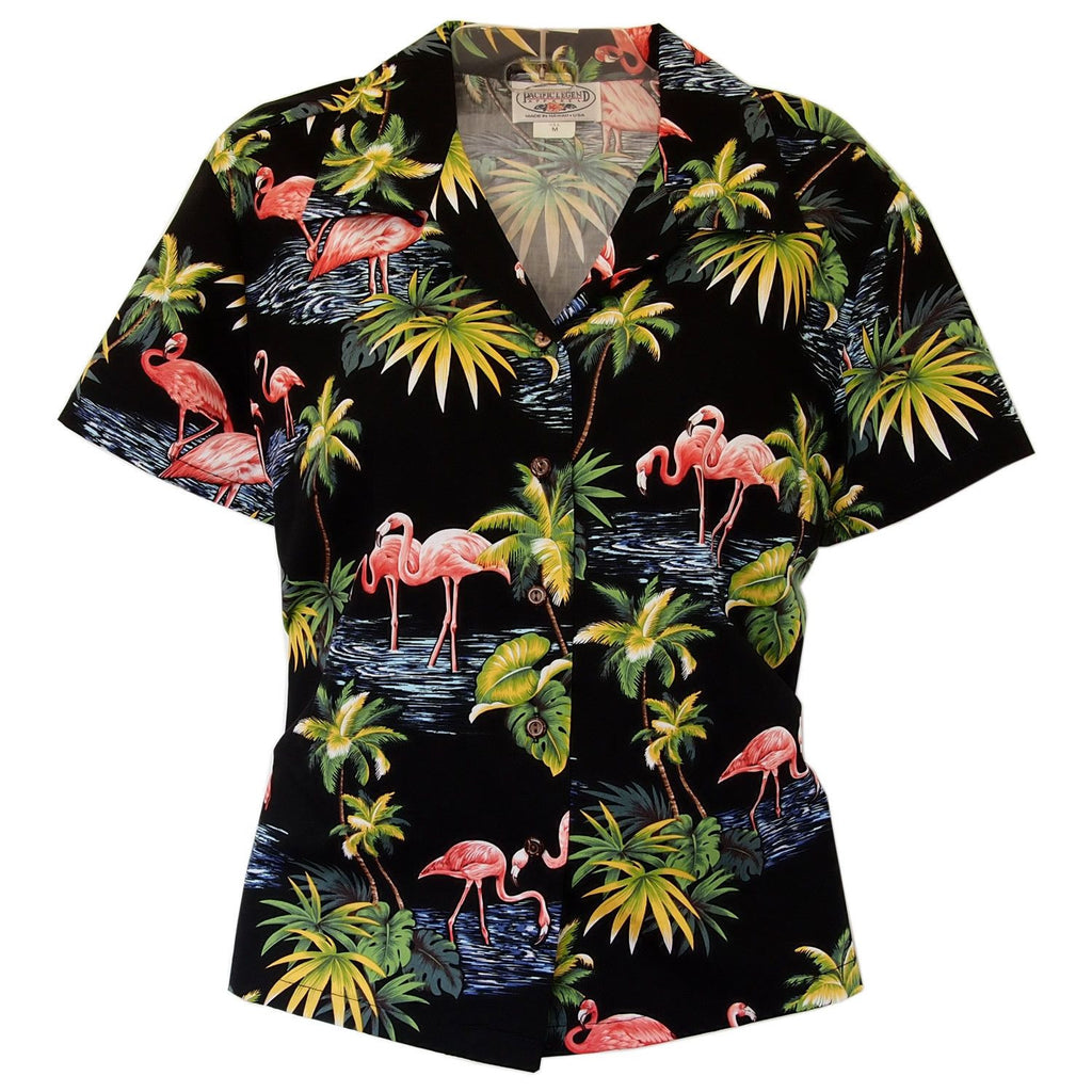 Flamingo Black Women's Cotton Hawaiian Blouse