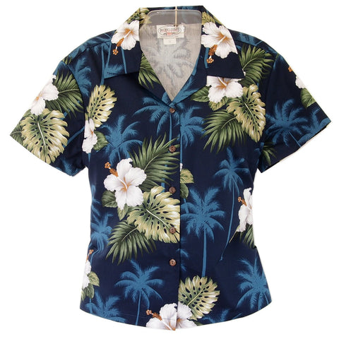 Sky Blue Hawaiian Women's Sleeveless Shirt