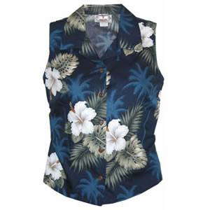 Hilo Blue Hawaiian Women's Sleeveless Shirt - PapayaSun