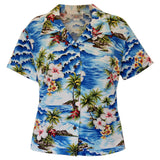 Lagoon Blue Hawaiian Women's Cotton Blouse