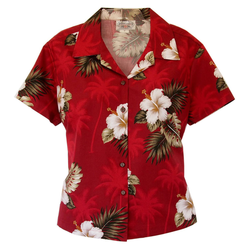 Lava Red Hawaiian Women's Cotton Blouse - PapayaSun