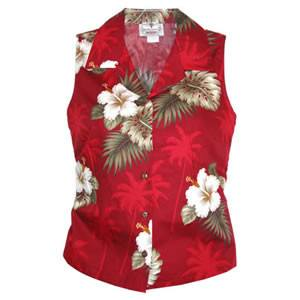 Lava Red Hawaiian Women's Sleeveless Shirt - PapayaSun