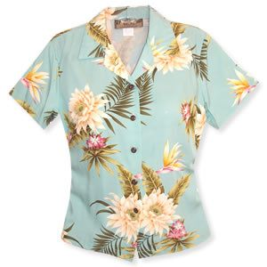 Mountain Green Hawaiian Women's Peplum Blouse - PapayaSun