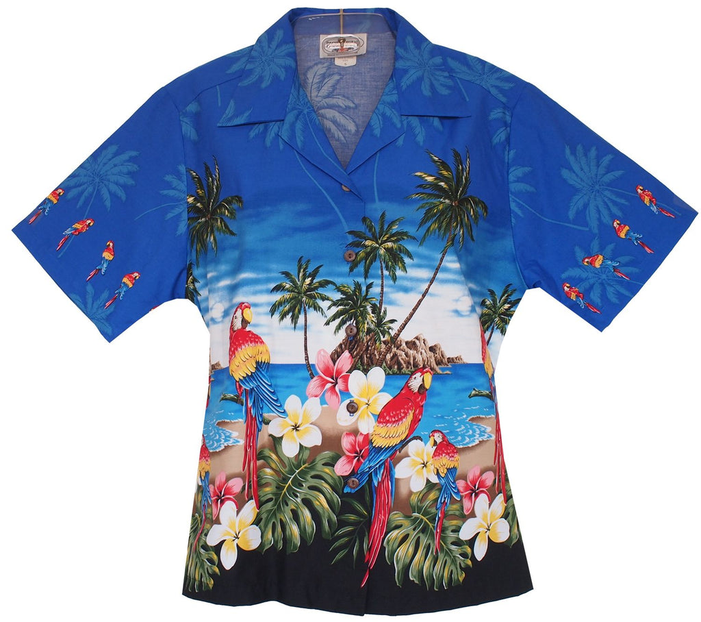 Parrot-Dise Blue Hawaiian Women's Camp Blouse - PapayaSun