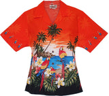Parrot-Dise Orange Hawaiian Women's Camp Blouse - PapayaSun