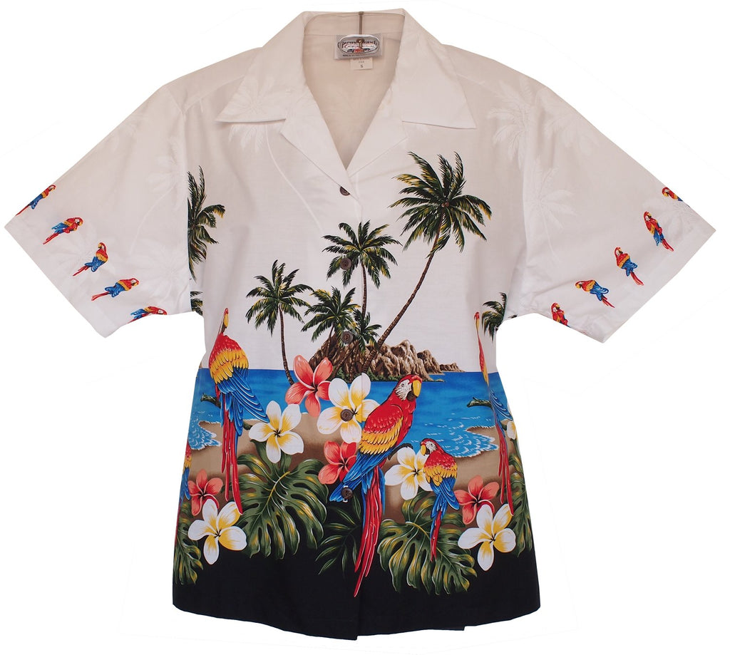 Parrot-Dise White Hawaiian Women's Camp Blouse - PapayaSun