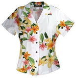 Rain White Hawaiian Women's Peplum Blouse - PapayaSun
