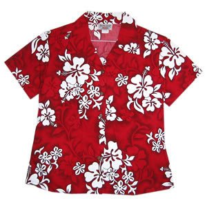 Seastar Red Hawaiian Women's Cotton Blouse - PapayaSun