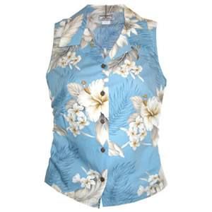 Sky Blue Hawaiian Women's Sleeveless Shirt - PapayaSun