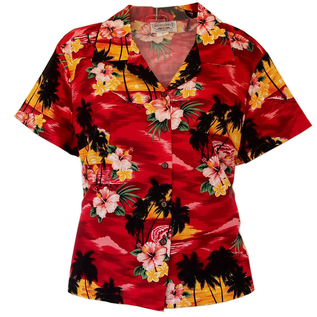 Sunburst Red Hawaiian Women's Cotton Blouse - PapayaSun