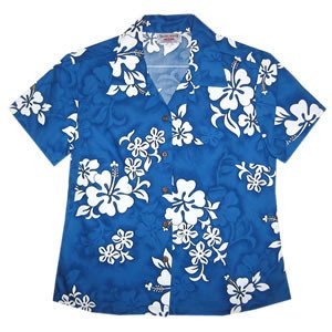 Waves Blue Hawaiian Women's Cotton Blouse - PapayaSun