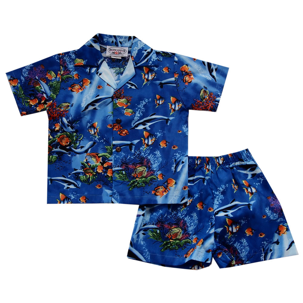Aquatic Blue Hawaiian Boy Shirt & Shorts Set - PapayaSun