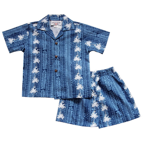 ef1c322f Cabana Blue Hawaiian Boy Shirt & Shorts Set