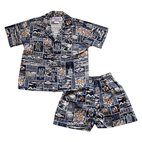 Skyburst Blue Hawaiian Teen Cotton Aloha Shirt