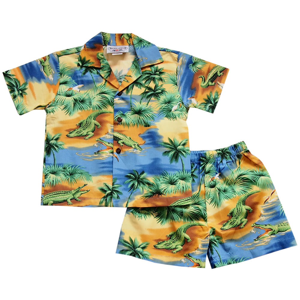 Gator Yellow Hawaiian Boy Shirt & Shorts Set - PapayaSun