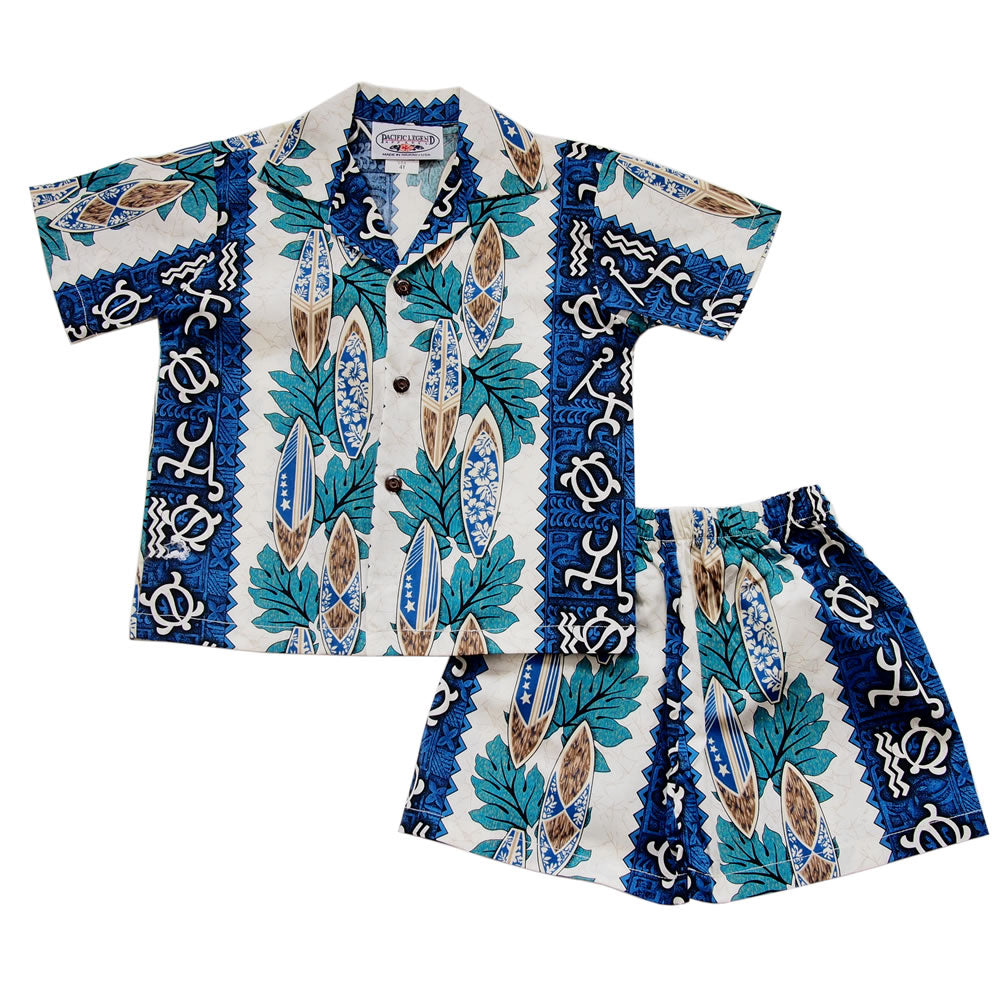 Blue Glyph Hawaiian Boy Shirt & Shorts Set - PapayaSun