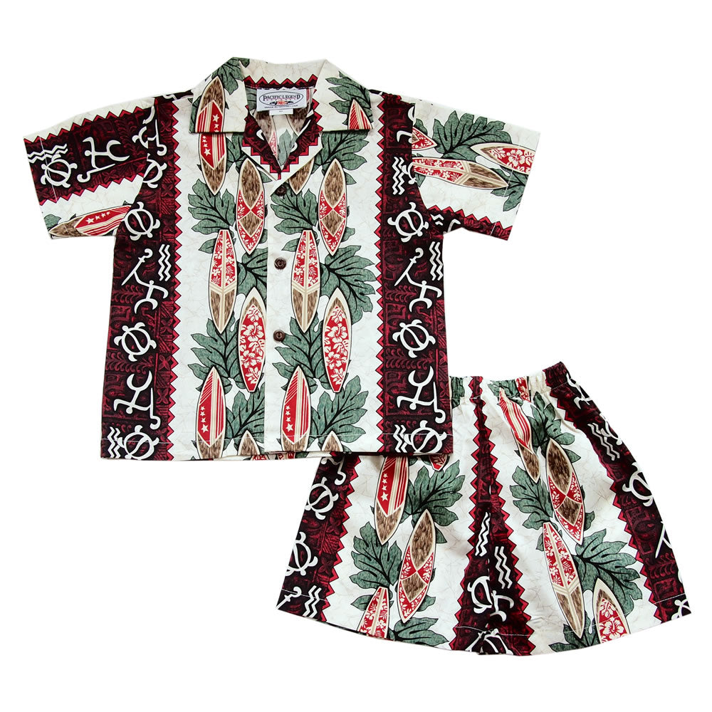 Red Glyph Hawaiian Boy Shirt & Shorts Set