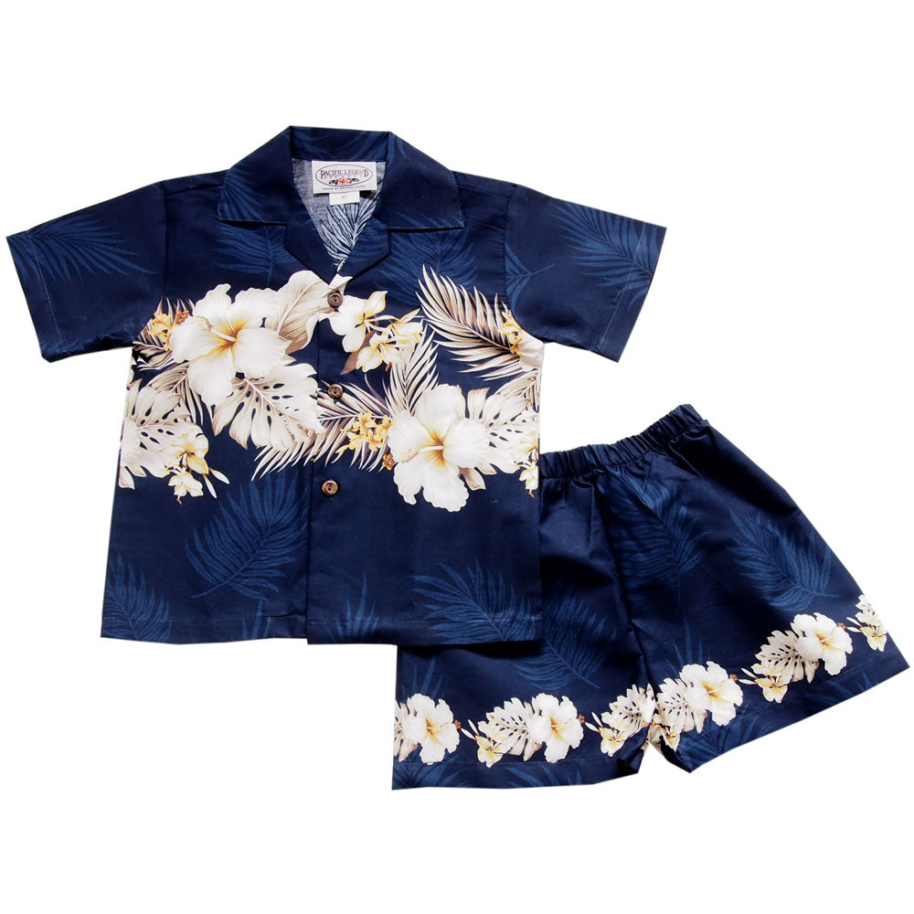 Hibiscus Blue Hawaiian Boy Shirt & Shorts Set - PapayaSun