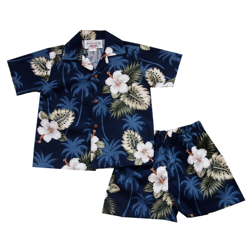 Hilo Blue Hawaiian Boy Cabana Shirt & Shorts Set - PapayaSun
