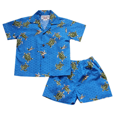 Gator Yellow Hawaiian Boy Shirt & Shorts Set
