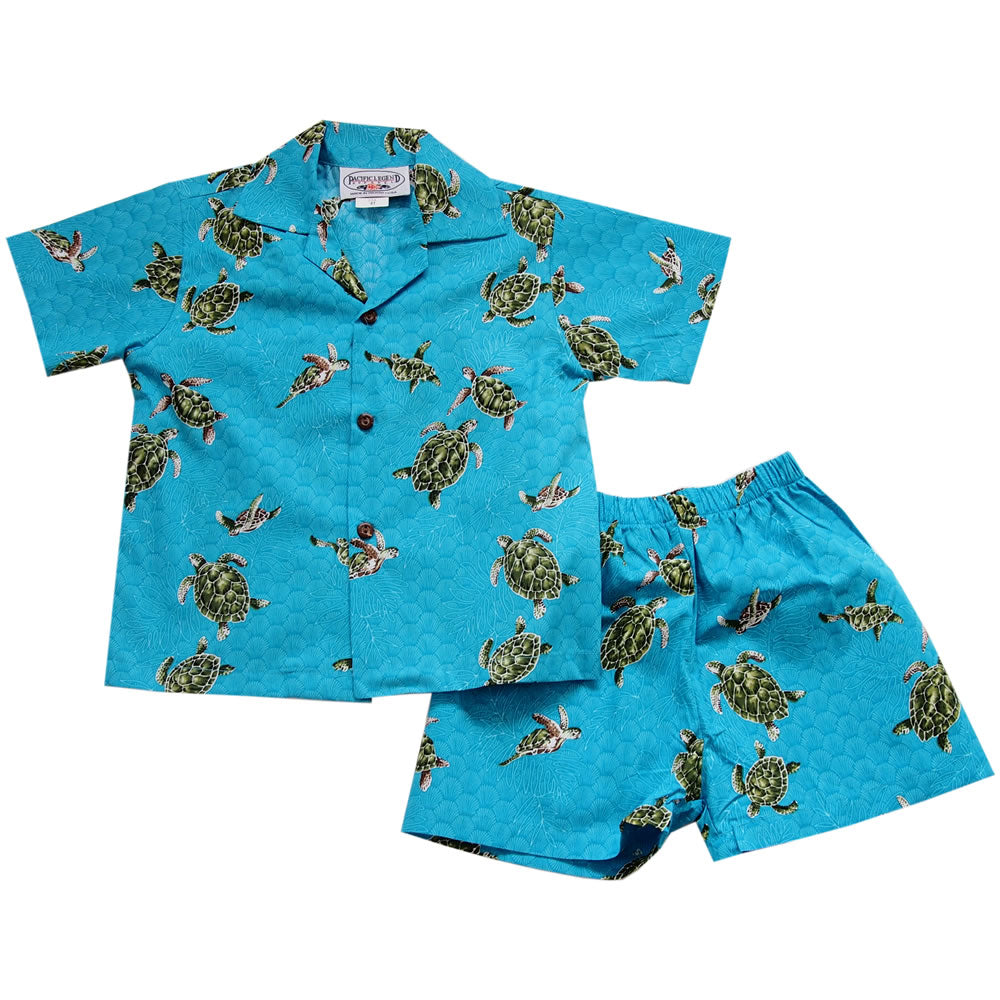 Honu Teal Hawaiian Boy Shirt & Shorts Set - PapayaSun