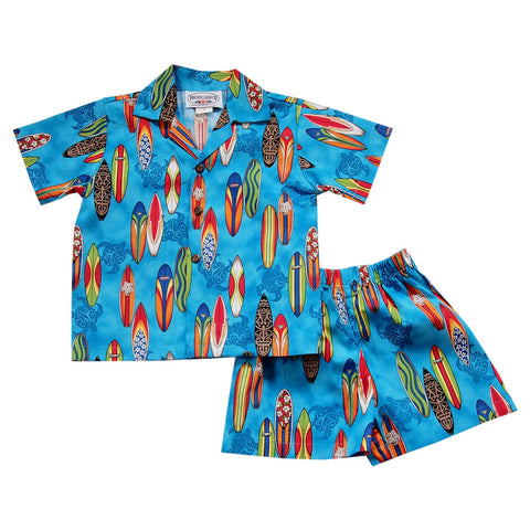 Lava Red Hawaiian Boy Cabana Shirt & Shorts Set