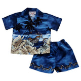 Island Chopper Blue Hawaiian Boy Shirt & Shorts Set - PapayaSun