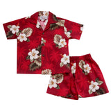Lava Red Hawaiian Boy Cabana Shirt & Shorts Set - PapayaSun