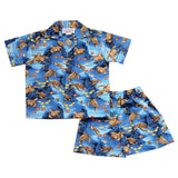 Sea Turtle Blue Hawaiian Boy Shirt & Shorts Set - PapayaSun