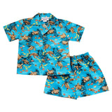 Sea Turtle Teal Hawaiian Boy Shirt & Shorts Set - PapayaSun
