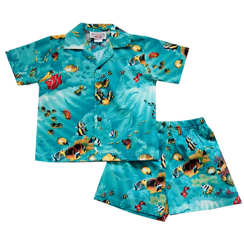 43290110 Sealife Teal Hawaiian Boy Shirt & Shorts Set