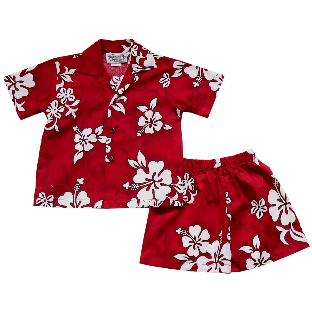 Seastar Red Hawaiian Boy Cabana Shirt & Shorts Set
