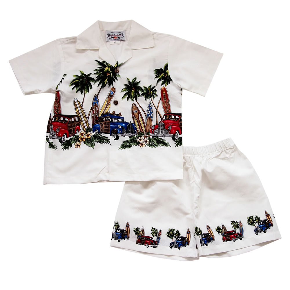 Surfs Up White Hawaiian Boy Shirt & Shorts Set - PapayaSun