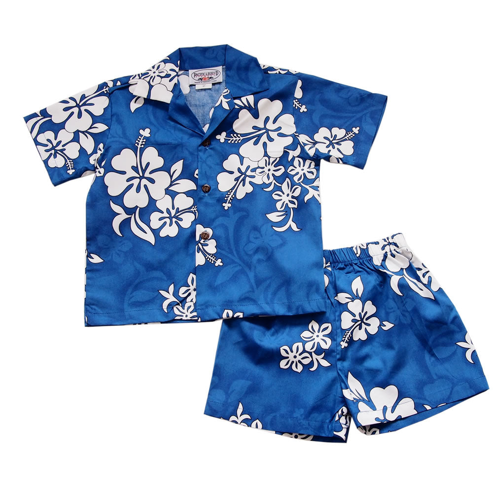 Waves Blue Hawaiian Boy Cabana Shirt & Shorts Set - PapayaSun