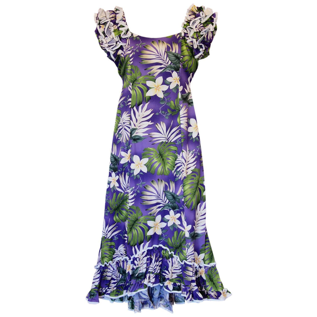 Amazon Purple Hawaiian Meaaloha Muumuu Dress with Sleeves - PapayaSun