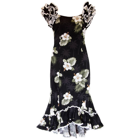 Paradise Black Long Hawaiian Dress with Sleeves