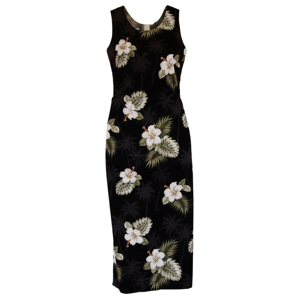 Blackberry Black Long Hawaiian Tank Dress - PapayaSun