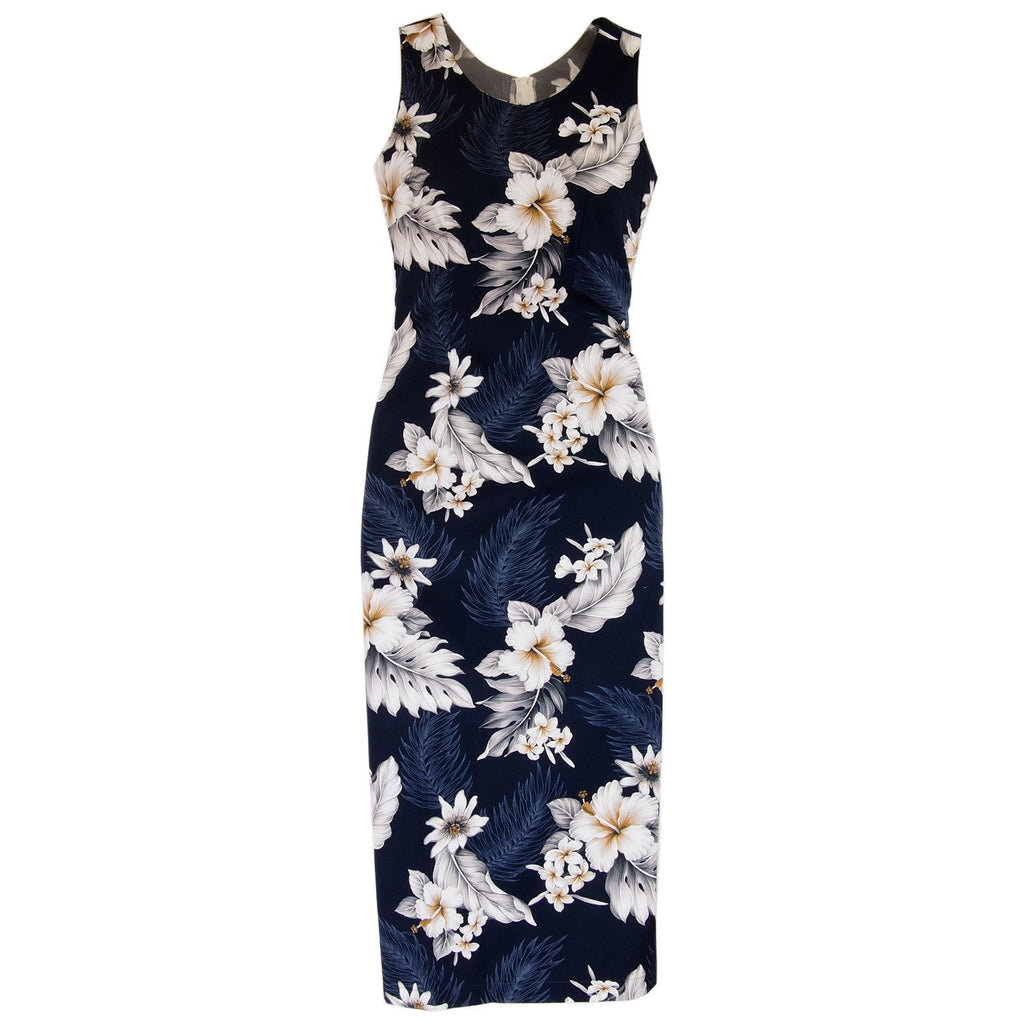 Blueberry Navy Long Hawaiian Tank Dress - PapayaSun