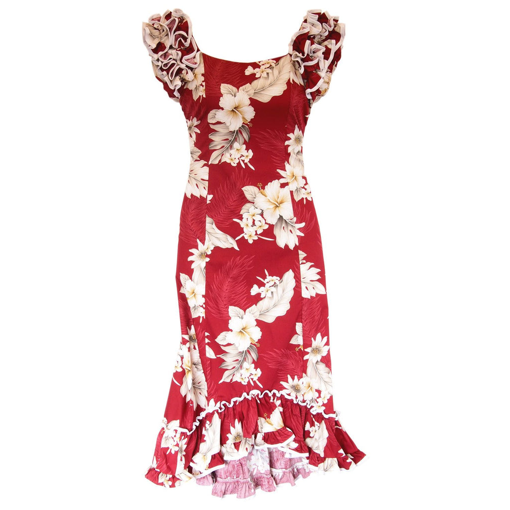 Chili Red Hawaiian Meaaloha Muumuu Dress with Sleeves - PapayaSun