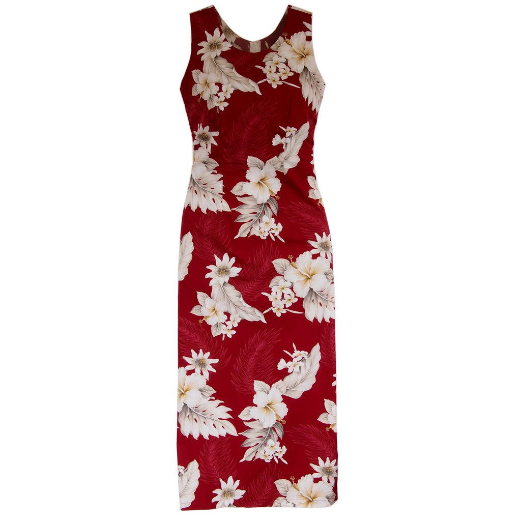 Chili Red Long Hawaiian Tank Dress - PapayaSun