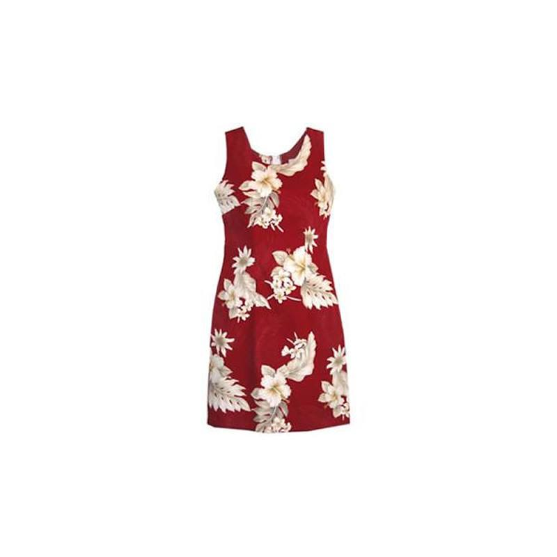Chili Red Short Hawaiian Sheath Floral Dress - PapayaSun