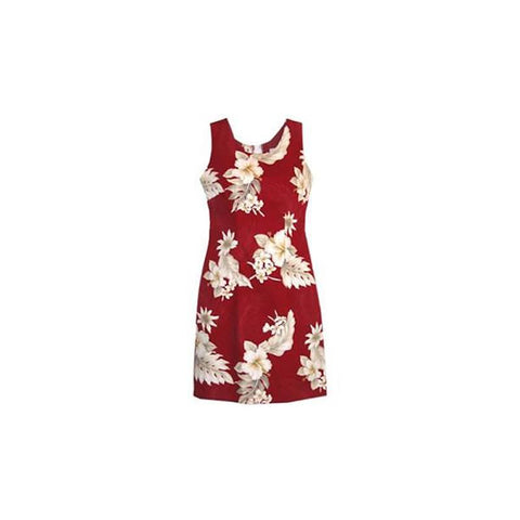 Seastar Red Short Hawaiian Sarong Floral Dress