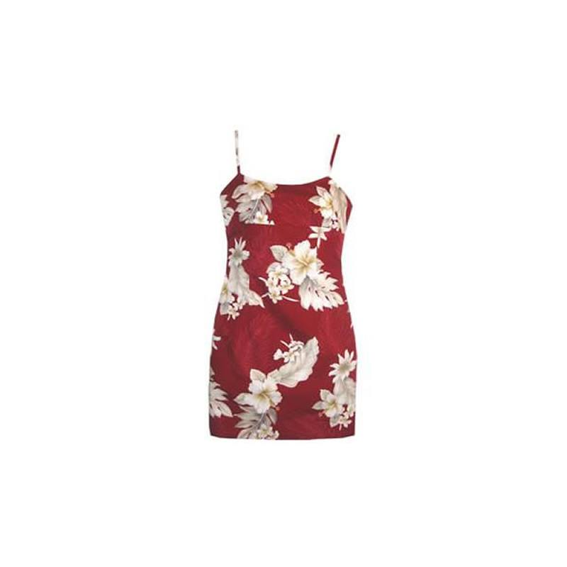 Chili Red Short Hawaiian Skinny Strap Floral Dress - PapayaSun