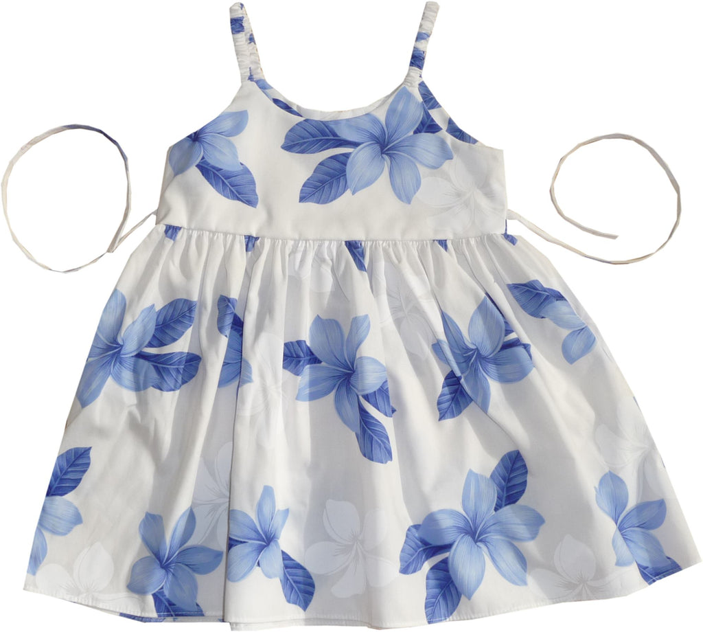 Delight Blue Hawaiian Girl's Sundress with Elastic Straps - PapayaSun