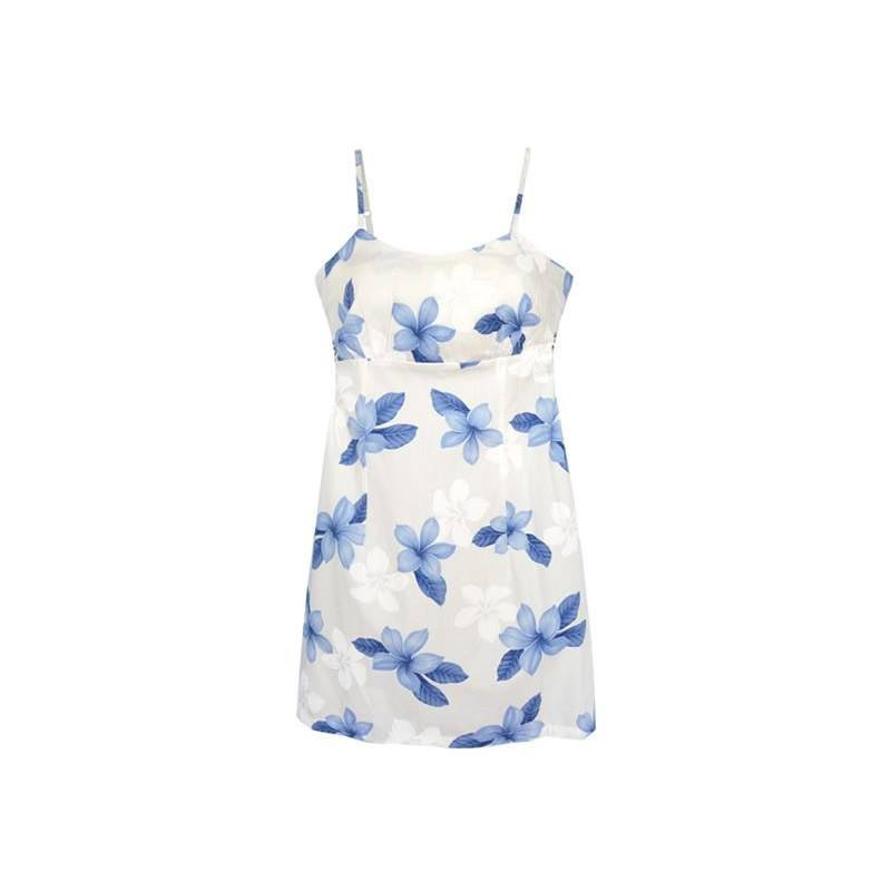 Delight Blue Short Hawaiian Skinny Strap Floral Dress - PapayaSun