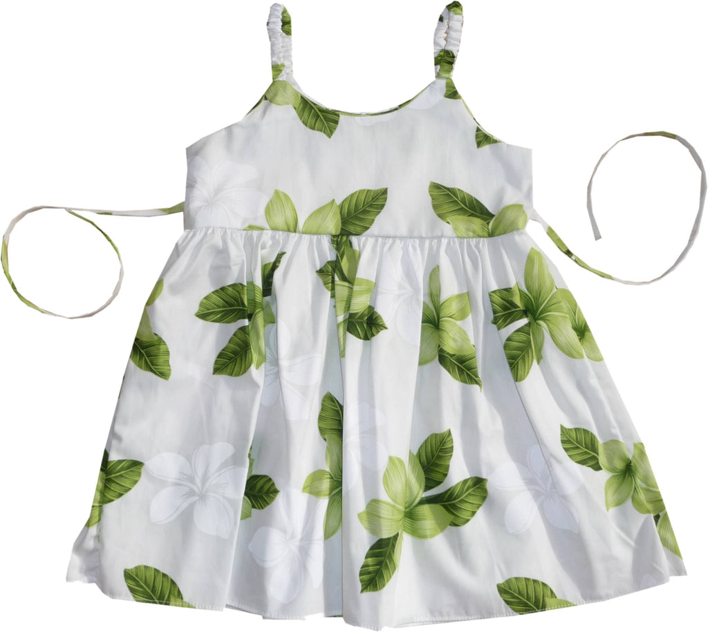 Delight Green Hawaiian Girl's Sundress with Elastic Straps - PapayaSun