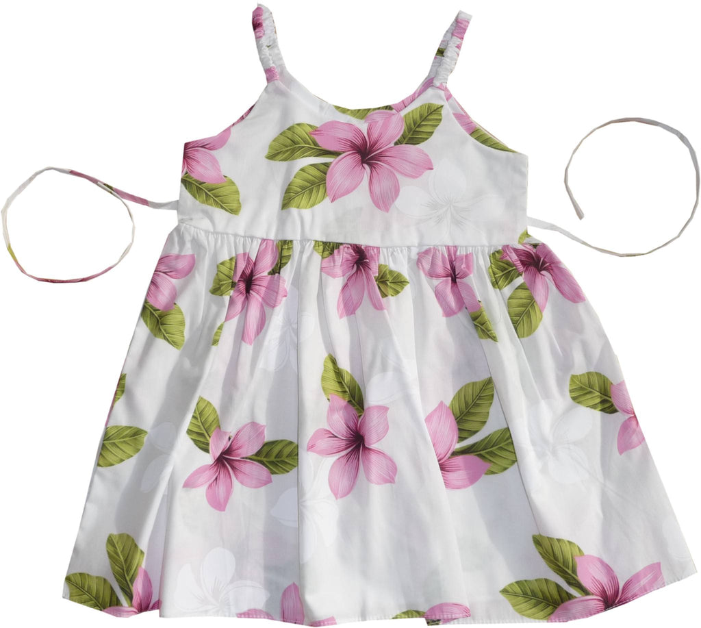Delight Pink Hawaiian Girl's Sundress with Elastic Straps - PapayaSun