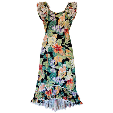 Blueberry Navy Long Hawaiian Tank Dress
