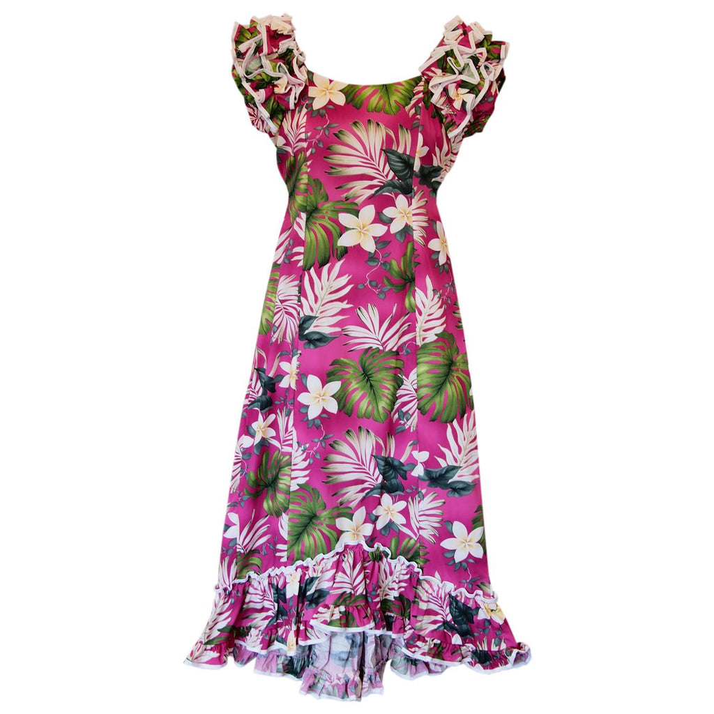 Excite Pink Hawaiian Meaaloha Muumuu Dress with Sleeves - PapayaSun